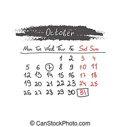 handdrawn, calendario, ottobre, vector., 2015.
