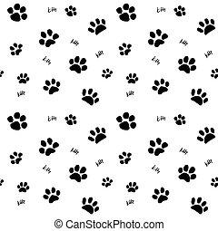 Handdrawn cats paw seamless pattern