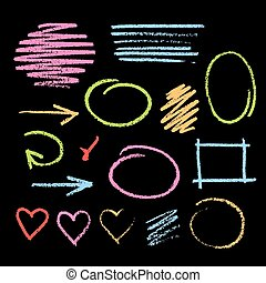 Collection of varicolored grunge graphic elements. Handdrawn colorful chalk sketch on a blackboard. Arrows, frames, strokes and hearts