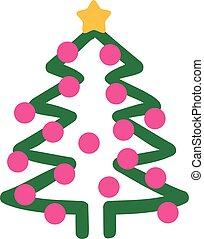 Handdrawn christmas tree with balls