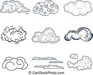 handdrawn, collection., vettore, nuvola, illustrazione