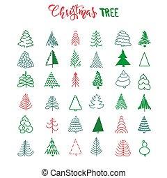handdrawn, conjunto, árbol, navidad