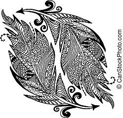 handdrawn, dekorativ, skizze, feder