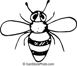 Handdrawn doodle bee icon. Hand drawn black bee sketch. Sign symbol. Decoration element. White background. Isolated. Flat design. Vector illustration.