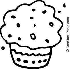 Handdrawn doodle cake icon. Hand drawn black sketch. Sign symbol. Decoration element. White background. Isolated. Flat design. Vector illustration