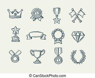handdrawn, doodle, cobrança, distinção, ícones