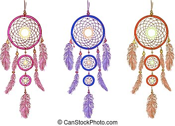 Handdrawn dreamcatcers. VECTOR illustration isolated on white. Magenta, purple, red dream catcher.