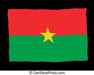 Handdrawn flag of Burkina_Faso