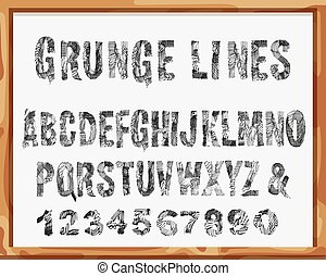 Handdrawn Font. Alphabet and Numbers with Grunge Lines and Strokes. Vector.