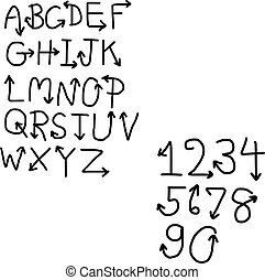 handdrawn font with arrow