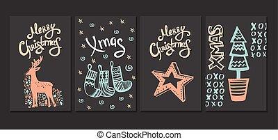 handdrawn, frohe weihnacht, sammlung, karten.