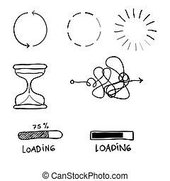 handdrawn, griffonnage, illustration, proces, ligne, ...