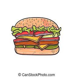 handdrawn, hamburger, colori, pieno, illustrazione