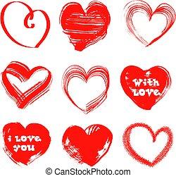 handdrawn, hjärtan, valentinkort dag