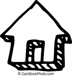 Handdrawn house doodle icon. Hand drawn black sketch. Sign symbol. Decoration element. White background. Isolated. Flat design. Vector illustration