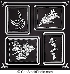 Handdrawn Illustration - Health and Nature Set. Collection of Herbs on Black Chalkboard. Natural Supplements. Thyme, Parsley, Rosemary, Chili Peppers