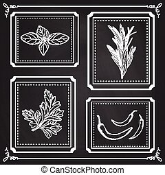 Handdrawn Illustration - Health and Nature Set. Collection of Herbs on Black Chalkboard. Natural Supplements. Basil, Parsley, Rosemary, Chili Peppers
