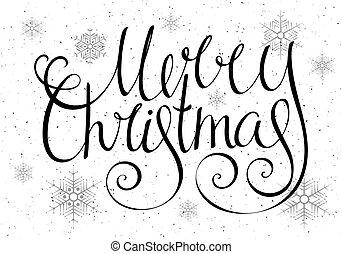 handdrawn, inscriptie, kerstmis, vrolijk, calligraphic