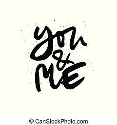 handdrawn, interessante, iscrizione, citazione, lei, me