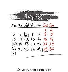 handdrawn, kalender, august, vector., 2015.