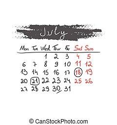 handdrawn, kalender, juli, vector., 2015.