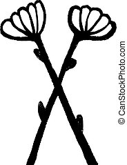 handdrawn, latijn, alphabet., de brief x, -, floral, element, van, alfabet, gemaakt, van, hand, getrokken, bloemen, voor, jouw, lettering, design., lente, floral, alfabet, element, in, vector.