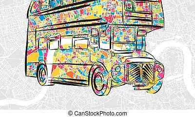 Handdrawn London Bus in colorful urban city map