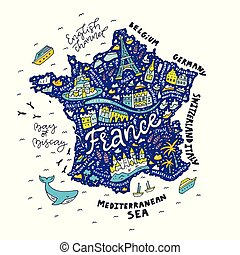 Handdrawn map of France - Map of France - cartoon map.