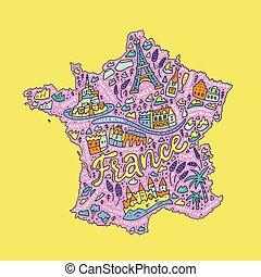 Handdrawn map of France - Vector illustration of the cartoon...
