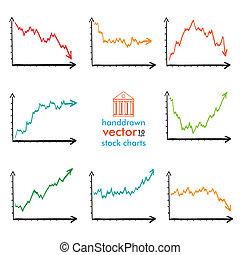 Handdrawn Market Charts Situations - Handdrawn stock charts ...