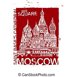 Handdrawn Moscow Image - Moscow image with Saint Basil s...