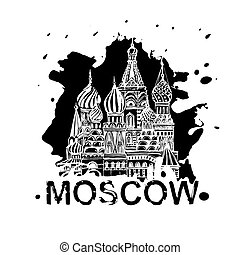 Handdrawn Moscow Image - Moscow image with Saint Basil's...