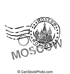 Handdrawn Moscow Image - Moscow stamp image with Saint Basil...