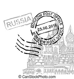 Handdrawn Moscow Image - Moscow stamp image with Saint...