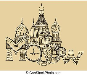 Handdrawn Moscow Image - Unique Moscow lettering. Vector...