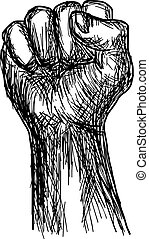 handdrawn of fist stylized vector illustration