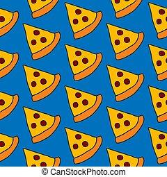 handdrawn, padrão, seamless, pizza