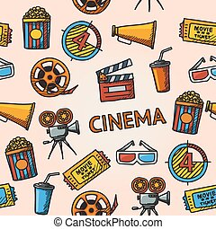 handdrawn, pattern., seamless, cinema