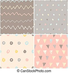 Handdrawn pattern set - Handdrawn seamless pattern...