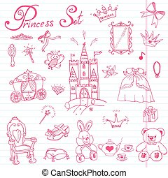 Handdrawn princess set sketch