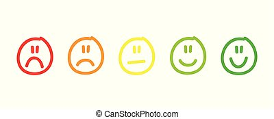 handdrawn rating satisfaction feedback in form of emotions excellent good normal bad awful