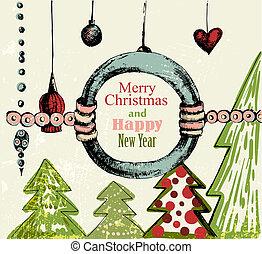 handdrawn, retro, achtergrond, kerstmis