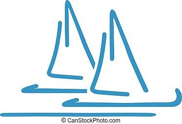 Handdrawn Sailing boats