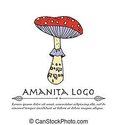 handdrawn, scarabocchiare, vettore, logo.