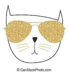 handdrawn, schattig, vector, illustratie, kat