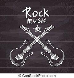 handdrawn, schizzo, musica, chitarre, roccia