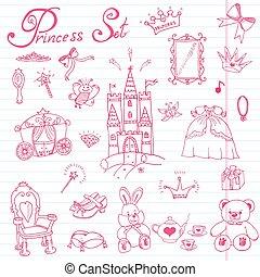handdrawn, schizzo, set, principessa