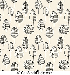 handdrawn seamless doodle pattern of trees