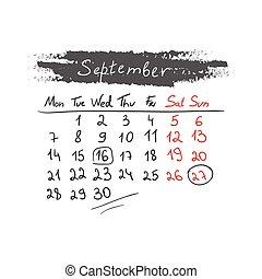 handdrawn, septembre, calendrier, vector., 2015.