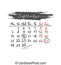 handdrawn, settembre, calendario, vector., 2015.
